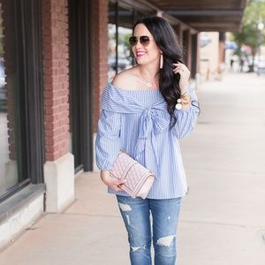 Pleione Tops - Pleione bow front off the shoulder striped top